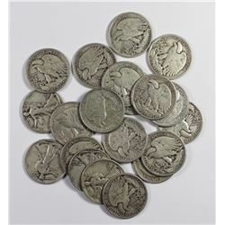 20 PCS. SILVER WALKING LIBERTY HALF DOLLARS