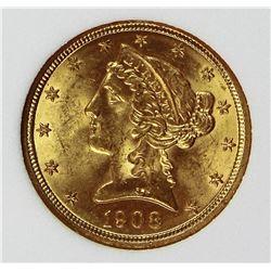 1908 $5.00 GOLD LIBERTY
