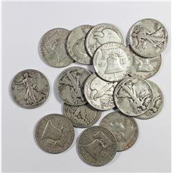 15 SILVER HALF DOLLARS