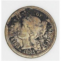 1885 THREE CENT NICKEL