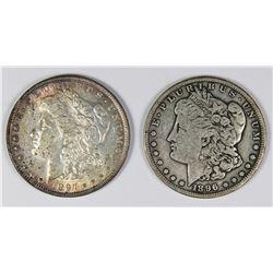 1896-S AND 1897 MORGAN SILVER DOLLARS