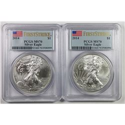 TWO 2014 AMERICAN SILVER EAGLES