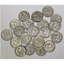 20 PIECES SILVER FRANKLIN HALF DOLLARS