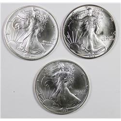 THREE GEM BU AMERICAN SILVER EAGLES
