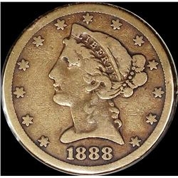 1888-S $5.00 GOLD