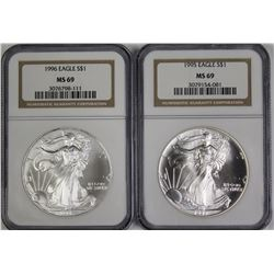 TWO AMERICAN SILVER EAGLES
