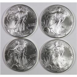 FOUR 2001 AMERICAN SILVER EAGLES