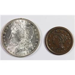1898 MORGAN DOLLAR AND 1851 LARGE CENT