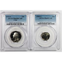 1976-S QUARTER AND 1968-S DIME