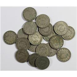 19 PIECES 1883 NO CENTS LIBERTY NICKELS