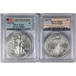 (2) BURNISHED AMERICAN SILVER EAGLES