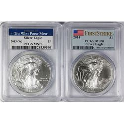 2013 (W) AND 2014 AMERICAN SILVER EAGLES