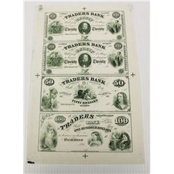 VIRGINIA CIVIL WAR NOTES UNCUT SHEET