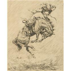 Olaf Wieghorst - A Buck Off & Calf Roping