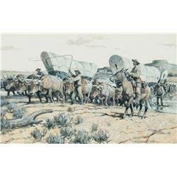 Nick Eggenhofer - Santa Fe Wagons Fording the Cimarron