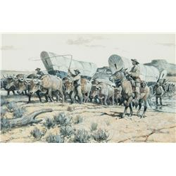 Nick Eggenhofer - Santa Fe Wagons Fording the Cimarron