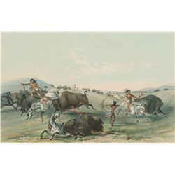 George Catlin - Catching the Wild Horse & Buffalo Hunt, Chase