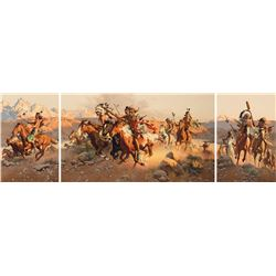 Frank McCarthy - Running Off the Herd (Triptych)