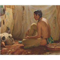 Joseph H. Sharp - Interior of a Buffalo Hunter's Teepee