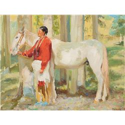 Bert G. Phillips - Taos Indian with His Horse