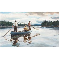 Ogden Pleissner - Playing a Fish