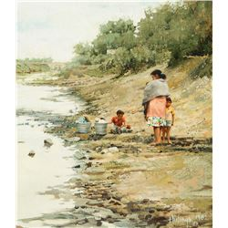 Clark Hulings - Washing Clothes in a Canal