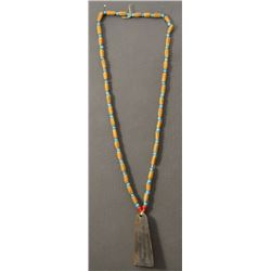 TRADE BEAD NECKLACE AND NOVELTY BRASS TAG