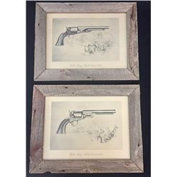 Two Colt's Historical Prints with Barnwood Frames