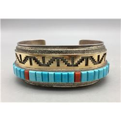 Gold, Silver and Inlay Bracelet by Harrison Jim