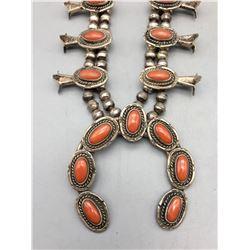 Vintage Coral Squash Blossom Necklace