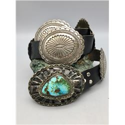 Sterling Silver Concho Belt with Large Turquoise Stone Belt Buckle