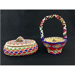 Two Beaded Tohono O'Odham Baskets