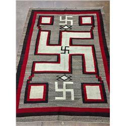 Large 1920s Whirling Log Pattern Navajo Rug