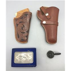 Two Holsters, Re-Loader and Belt Buckle