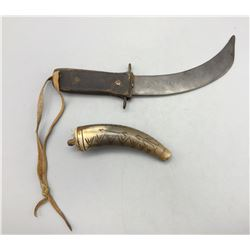 Antique Knife and Powder Horn