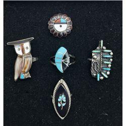 Five Vintage Zuni Rings