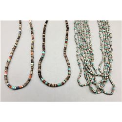 Three Turquoise, Shell, and Heishi Necklaces