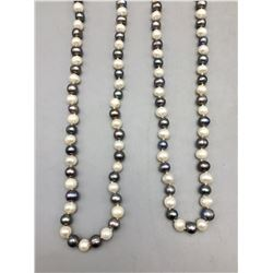"64"" Strand of Black and White Pearls"