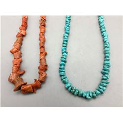 One Turquoise and One Coral Necklace
