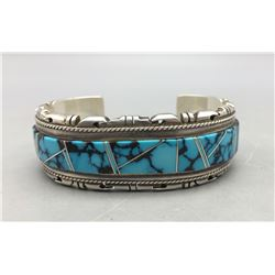 Turquoise Channel Inlay Cuff Bracelet