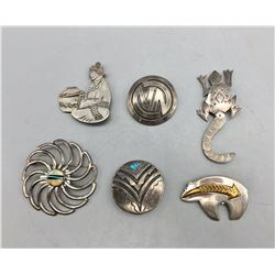 Group of Six Pins or Brooches
