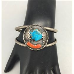 Vintage Turquoise and Coral Bracelet by Yazzie