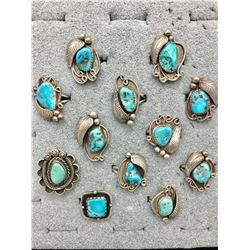 12 Vintage Turquoise Rings