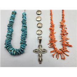 Group of Turquoise, Coral and Sterling Silver Jewelry