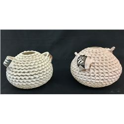 Two Corrugated Acoma Pots