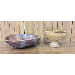 Chalice Style Twined Basket and Large Handmade Bowl