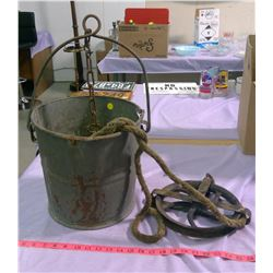 """ORIGINAL WELL PAIL AND PULLEY - 5"""" WHEEL & 7"""" WHEEL"""