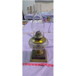 #2 COAL OIL LAMP WITH METAL BASE