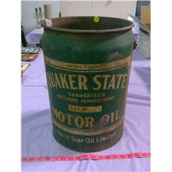 QUAKER STATE MOTOR OIL PAIL (NORTH STAR) - RUSTED BOTTOM