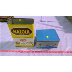 METAL LUNCH BOX AND MAZOLA TIN